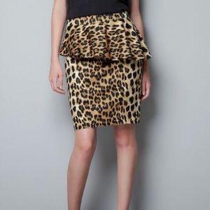 Zara animal print asymmetrical peplum pencil skirt